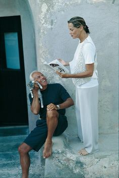 """laragosta: """"Giorgio Armani enjoying himself with Lauren Hutton at his holiday home in Pantelleria, Italy. Photo by Isabelle Snyder. """""""
