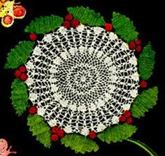 Holly Wreath Doily - great vintage pattern-k