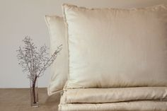 STANDARD PILLOW, organic wool filled pillow with memory foam core, natural, handmade, ecofriendly, beige sateen covered