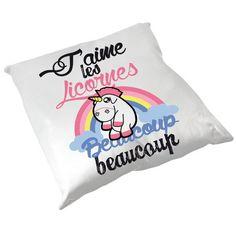 """Coussin """" J'aime Les Licornes """" - Chamalow Shop"""