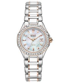 Citizen Watch, Women's Eco-Drive Signature Diamond (3/8 ct. t.w.) Ceramic Two Tone Stainless Steel Bracelet 29mm EW2196-52D - Citizen - Jewelry & Watches - Macy's