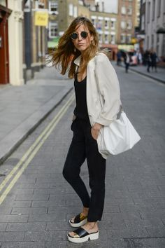 Black outfit with white jacket