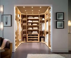 Chic small walk in closet design ideas with white wall and fur rug also solid floor