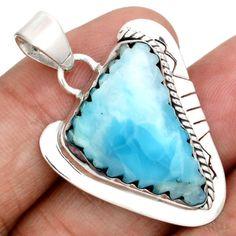 Larimar-Dominican-Republic-Slice-925-Sterling-Silver-Pendant-Jewelry-SP137288