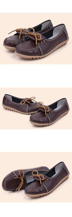 Women's #brown leather #slipon shoes, classic and comfort
