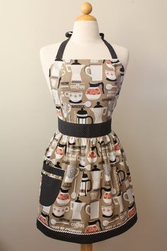 Apron Retro Style French Roast Coffee on Brown CHLOE by Boojiboo