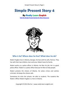 Look! A free printable English short story in the simple present tense with worksheets and answer keys! Perfect for ESL / EFL students and teachers.