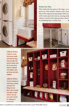 An entire mudroom built with Fido in mind. The chain link fence creating the dog bed space under the upper cabinets isn't exactly lovely, but it's certainly functional and would confine a large, strong dog well. You could make this more attractive by extending the cabinetry down and using open mesh grid on doors on the base, or creating a fence with wooden posts instead of the chain link. From the Fun Times Guide to Log Homes.