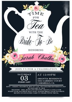 High tea bridal tea party invitation