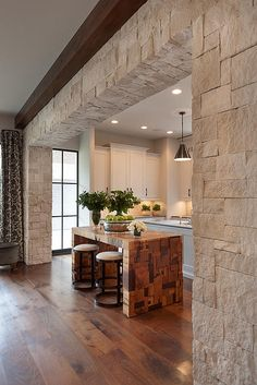 David James Custom Builder| Houston | Tangley Homeisland is terrible but stone transition is nice idea