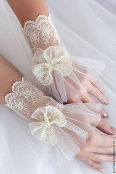 Купить Перчатки свадебные , кружевной манжет - перчатки, перчатки без пальцев, перчатки женские