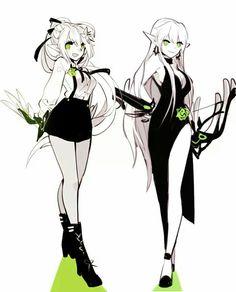 Wind Sneaker (left), Night Watcher (right) Anime Oc, Kawaii Anime, Manga Anime, Fantasy Characters, Female Characters, Anime Characters, Character Concept, Character Art, Elsword Anime