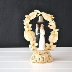 Vintage Floral Wedding Cake Toppers