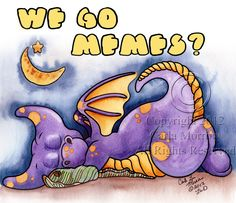 """Share some giggles with this Little Wings Dragons! """"MeMes"""" by Carla Morrow $24.95 Dragon Print, Little Dragon, Childrens Room Decor, Photo On Wood, Metal Signs, Wood Print, Dragons, Wings, Memes"""