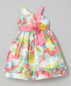 Pink Neon Floral Ruffle Asymmetrical Dress - Toddler & Girls by Jayne Copeland #zulily #zulilyfinds