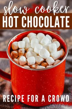 The Best Slow Cooker Hot Chocolate for a Crowd: easy to make for a party, the ho. The Best Slow Cooker Hot Chocolate for a Crowd: easy to make for a party, the holidays, or family. Makes 8 servings Slow Cooker Hot Chocolate Recipe, Homemade Hot Chocolate, Hot Chocolate Recipes, Crockpot Hot Cocoa Recipe, Hot Chocolate Without Milk, Creamy Hot Chocolate Recipe, Chocolate Treats, Vegetarian Crockpot Recipes, Slow Cooker Recipes