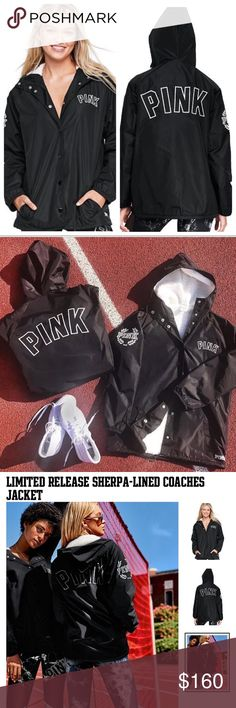 VS PINK Sherpa Lined Coaches Jacket New in package Victoria's Secret Pink Limited Edition sherpa lined coaches jacket.   It has a super soft sherpa lining, and an anorak like outside, this jackets is soft, cool, and limited edition PINK Victoria's Secret Jackets & Coats