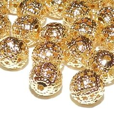 60pcs 8mm GOLD Filigree  Round Spacer Beads Plated DIY Jewelry Beads & Beading Supplies FREE Combined Shipping Other colors availlable by FireSwanBeads on Etsy https://www.etsy.com/listing/189437997/60pcs-8mm-gold-filigree-round-spacer