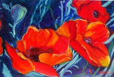 Southwestern Poppies VI  Original Oil Painting by brushnpalette, $700.00