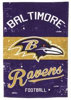 Let your team spirit wave proudly with this unique NFL Vintage Garden Flag. In full team colors, this vintage style polyester linen-textured garden flag is weather and fade resistant. Can be displayed indoors or outdoors. Baltimore Ravens Wallpapers, Baltimore Ravens Logo, Nhl Logos, Sports Logos, Sports Teams, Ravens Cheerleaders, Nfl Ravens, Football Memes, Football Art