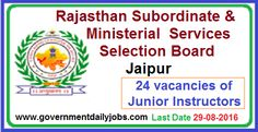 JUNIOR INSTRUCTORS VACANCY IN RSMSSB RECRUITMENT 2016 ~ Government Daily Jobs