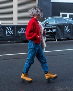 Screaming over these platform @timberland boots we spotted  #nyfw #streetstyle Photo by @franeymiller  via NYLON MAGAZINE OFFICIAL INSTAGRAM - Celebrity  Fashion  Haute Couture  Advertising  Culture  Beauty  Editorial Photography  Magazine Covers  Supermodels  Runway Models