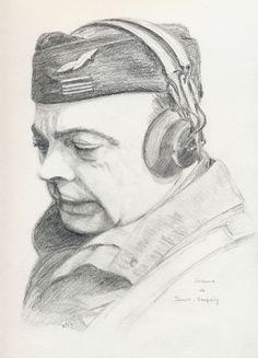 Dessin au crayon Nose Art, Aeropostale, St Exupery, Pin Up, Skeleton Art, Miles Davis, Gliders, Airplanes, Authors