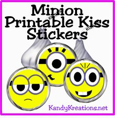 Give your friends and guests some Minion kisses with these free Minion kiss stickers that can be printed from your home computer.  Your Despicable Me Minion party will be so much sweeter with these fun faces. Come print yours today!