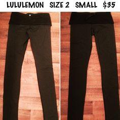 LULULEMON LEGGINGS BLACK SMALL YOGA PANTS  LULULEMON. Black. Fold over. Leggings. Size 2. Small. Good condition. Yoga pants lululemon athletica Pants Leggings