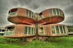 The San Zhi complex in Taiwan is an eery village of pods built for vacationers but abandoned having never been used.