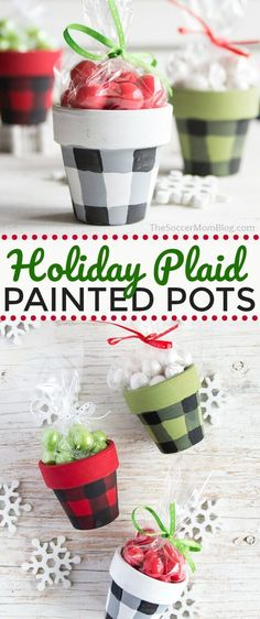 How to make buffalo plaid painted holiday pots for Christmas! Buffalo Check Painted Pots are a gorgeous holiday decoration or handmade Christmas gift idea! This year make make your own diy homemade decorations for the holiday season! Diy Holiday Gifts, Handmade Christmas Gifts, Homemade Christmas, Holiday Crafts, Holiday Decor, Easy Handmade Gifts, Handmade Crafts, Christmas Gifts For Boyfriend, Painted Pots