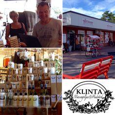 Dagens första besök var Nya Kryddan i Löttorp på ett väldigt soligt Öland. Turisterna flockades till denna välsorterade kaffe-, krydd- och inredningsbutik och aldrig förr har vi skådat ett så gediget Rice-sortiment. Givetvis är Klinta också en bästsäljare! :) Tummen upp till Maria och Kent!