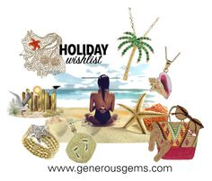 Beach Lovers Holiday Wish List by generousgems.com on Polyvore featuring Tkees, Sensi Studio, Reyes and Ray-Ban #holiday #holidaywishlist #beach #shore #nautical #nauticaljewelry #jewelry #generousgems #gift #christmas #vacation #love #ocean #charm #14kcharm #diamond