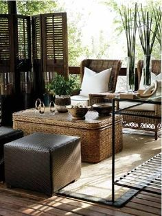 Safari inspired furnishings for your patio or screened porch.