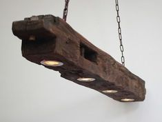 Hausideen Hanging lamp made of old wooden beams including LEDs dining room ideas Farmhouse Lighting beams Dining Farmhouse Lighting collections hanging Hausideen Ideas including lamp LEDs Room Wooden Rustic Lamps, Wood Lamps, Rustic Wood, Farmhouse Lighting, Rustic Lighting, Crochet Lamp, Wooden Chandelier, Industrial Light Fixtures, Contemporary Floor Lamps