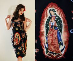 Robe pin-up - Style Rockabilly - Imprimé mexicain - Notre-Dame de Guadalupe - M
