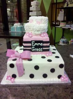 Baby Shower Cake with Polka Dots, Booties, and a Bow