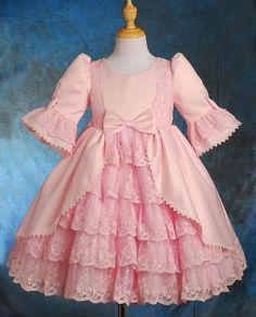 Dressy Daisy Girls Lace Satin Victorian Princess Flower Girl Dresses Pageant Party Dress Size 2-3T Pink