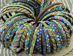 African Beaded Alice Bands available in a wide range of colors and African patterns. Tribal Patterns, Bead Loom Patterns, Bracelet Patterns, Boho Jewelry, Beaded Jewelry, Ethnic Jewelry, Jewelry Ideas, Jewlery, African Crafts