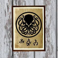 Cthulhu print Occult symbol art Horror decor Antique paper 8.3 x 11.7 inches