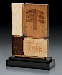 Elegant Eco-friendly award.  Made with recycle materials.  Personalized with your information