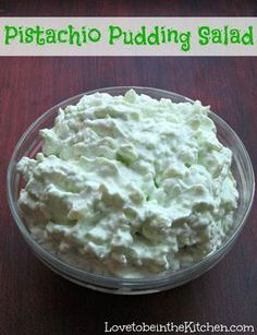 Use sugar free pistachio pudding. Pistachio Pudding Salad- Made with pistachio pudding mix, pineapple, cottage cheese and cool whip! You can add chopped pecans and marshmallows too. Pistachio Pudding Salad, Pistachio Dessert, Pistachio Recipes, Pistachio Fluff, Jello Recipes, Salad Recipes, Dessert Recipes, Pudding Recipes, Recipies