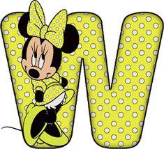 Abecedario de Minnie con Letras Verde Limón y Lunares Blancos.  Minnie Alphabet with Green Lemon Letters and White Dots. Austin Powers, Casa Disney, Disney Fun, Rugrats, Minnie Mouse Party, Mouse Parties, Candyland, South Park, Betty Boop
