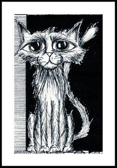 An ink illustration of fantasy character design, a wise old cat with powers. Large eyes with soft fur. In cross-hatching graphic novel style. An inspirational artwork, brimming with ideas for your own book series design ideas.   Bigger pic, is the poster for magical book series The Sentinel Trilogy by Joshua Winning.