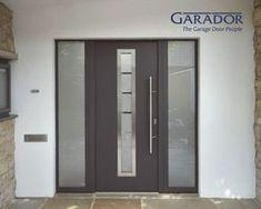 Modern Entrance Door, Modern Exterior Doors, Modern Front Door, Front Door Entrance, House Front Door, Glass Front Door, House With Porch, Dark Grey Front Door, Front Doors With Windows