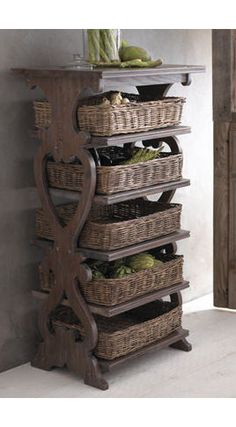 Great way to store potatoes, onions, etc.