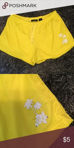 Deb bright yellow shorts Adorable Deb shorts with detail on the side. The detail is coming off a little bit because of being washed but still super cute and useful for the beach or as pajamas. Deb Shorts