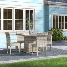 Sol 72 Outdoor™ Rockport 5 Piece Dining Set with Cushions & Reviews | Wayfair Wicker Dining Set, Wicker Chairs, Outdoor Dining Set, Dining Arm Chair, Wicker Furniture, Outdoor Entertaining, Outdoor Furniture Sets, Outdoor Decor, Weather Nice