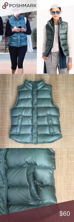 "J. CREW Shiny Puffer Down Vest Alhambra Green Sz M J. Crew Shiny Puffer Down Vest, Sz M. Color is 'Alhambra Green'. Style B1160. Excellent condition, barely used. Snap placket with zipper closure, snap hand pocket closure, nylon/down fill. Color varies depending on light. Please see last photo for product description. No trades, please. Thank you. 👉pit to pit: about 19.25"", length shoulder to hem: about 23"". J. Crew Jackets & Coats Vests"