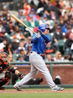 Steve Clevenger #51 Of The Chicago Cubs with the follow through...